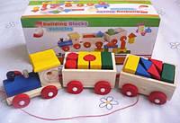 Развивающая игра Деревянный паровозик с кубиками, фото 1
