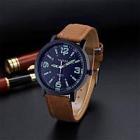 Мужские часы Yazole 319 черные с коричневым ремешком