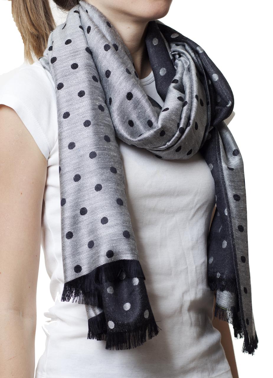 Палантин в горошек серый (81005) - Fashion Accessories в Хмельницком
