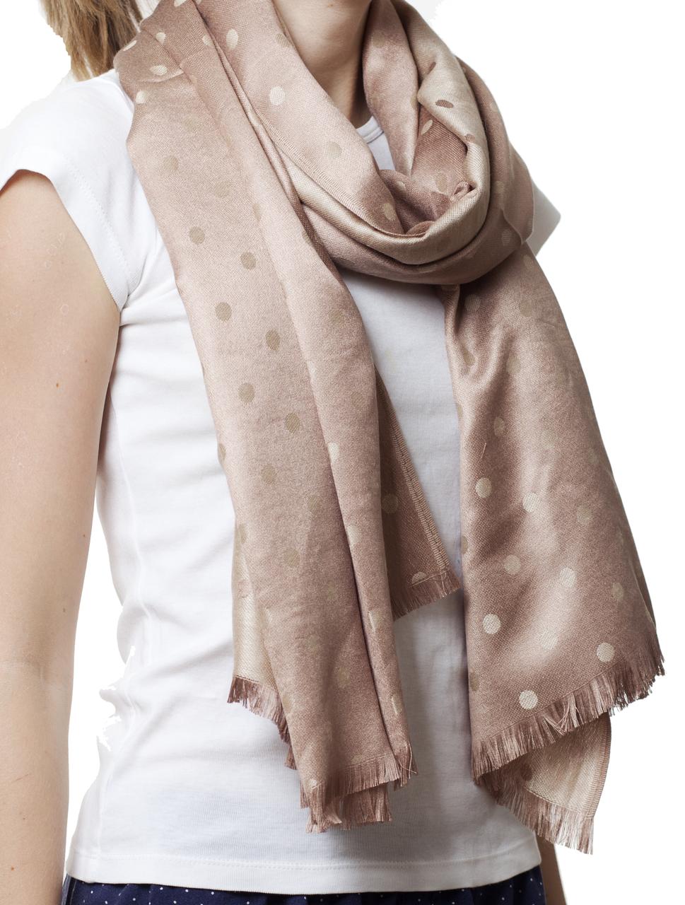 Купить палантин в горошек бежевый (81006) - Fashion accessories в Ивано-Франковске