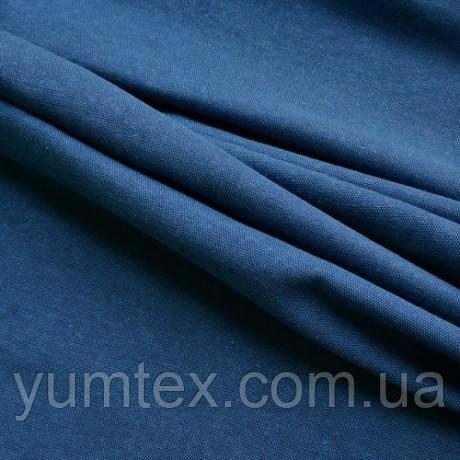 Однотонная ткань панама Песко меланж, 60 % хлопок, цвет голубой+синий