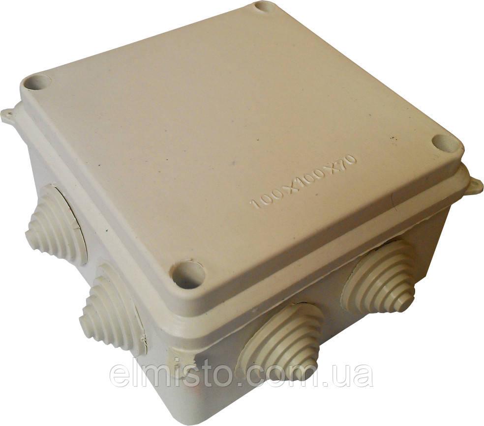 Коробки монтажные для наружной (открытой) установки 100х100х70мм IP54 с 8-мью гермовводами