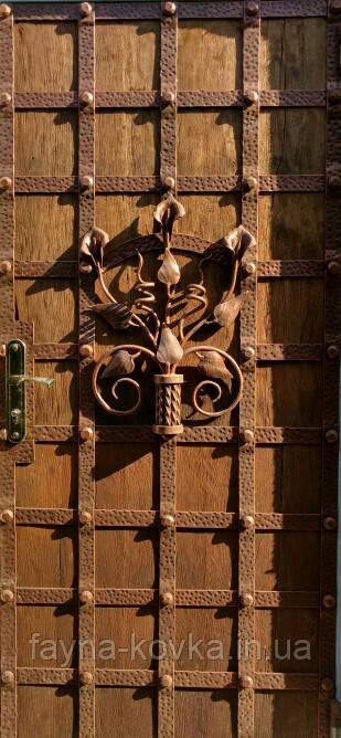 Двери кованые с дубом.