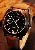 Мужские часы Yazole черные с коричневым ремешком