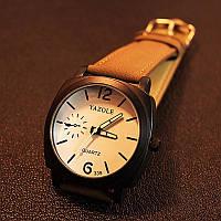 Мужские часы Yazole белые с коричневым ремешком