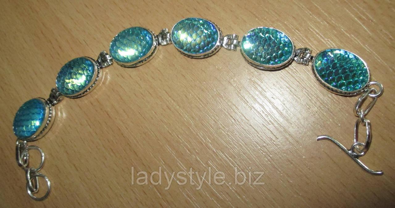 """Красивый браслет  с дихроидным стеклом """"Русалочка-овал"""" от студии LadyStyle.Biz"""