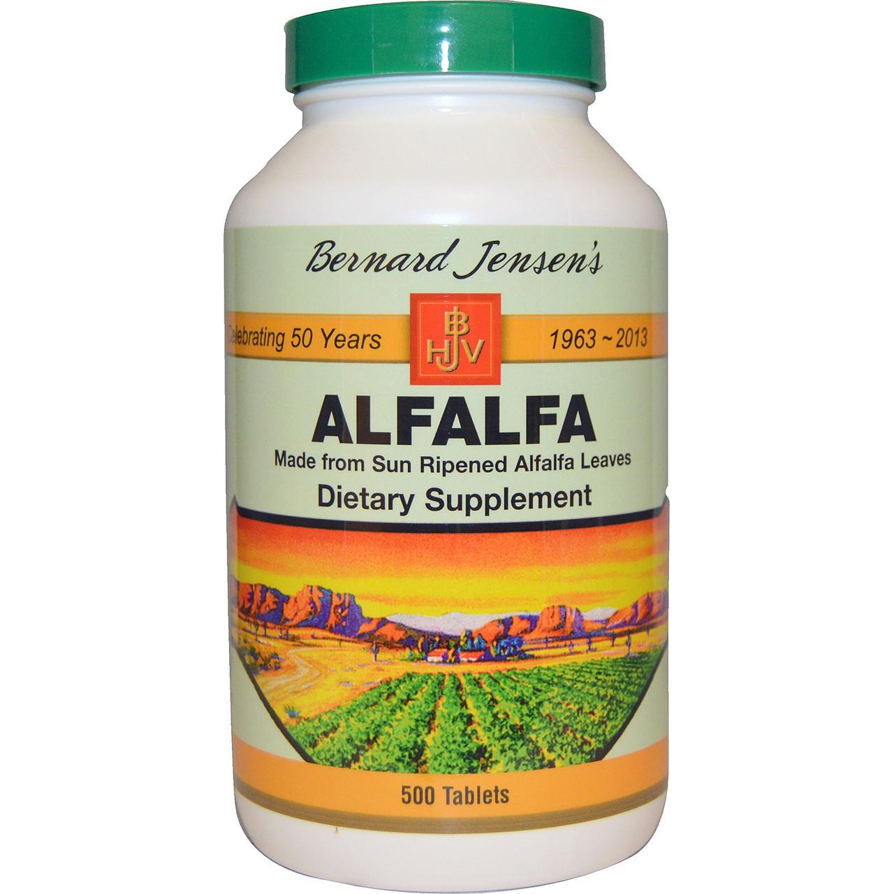 Alfalfa (Люцерна), Bernard Jensen's, 500 таблеток. Сделано в США.