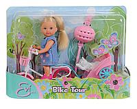 Кукольный набор Еви с собачкой на велосипеде Evi Love Simba