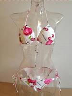 Купальник раздельный на завязках белый с розовым рисунком S/М