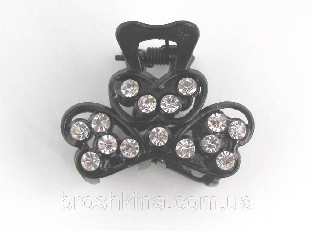 Краб для волос металл черный с белыми камнями L 4 см