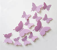 Бабочки 3D лавандовые 3Д декор наклейки