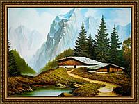 Картина Домик в Альпах 400х600мм №301 в багетной рамке