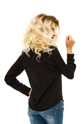 Блузка креп-шифон 220 черная, фото 2