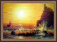 Картина Ласточкино гнездо Горячев 400х600мм №313 в багетной рамке