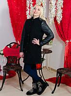 Пальто кашемировое с кожаными рукавами