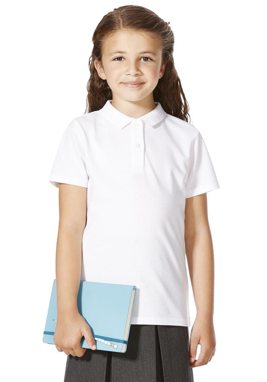 Школьное поло белое с коротким рукавом на девочку 5-6-7-8-9-10 лет George (Англия)