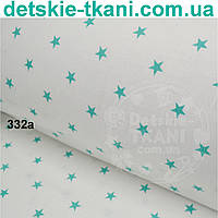 Ткань хлопковая с тёмно-мятными звёздочками 15 мм на белом фоне ( № 332а)