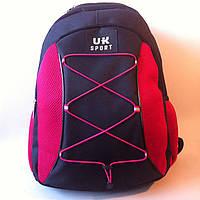 Спортивный рюкзак с шнурками UKsport, Укрспорт черный с малиновым