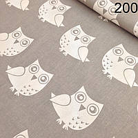 Ткань польская белые совы на сером фоне(№200)