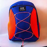 Спортивный рюкзак со шнурками UKsport, Укрспорт синий с оранжевым, фото 1