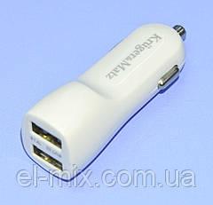 Устройство зарядное авто гн.USB-Aх2  3.1A(1А+2.1А) Kruger&Matz KM0018