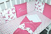 """Комплект в детскую кроватку """" Фламинго"""" с пледом"""