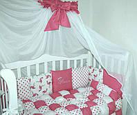 """Комплект в детскую кроватку """" Фламинго"""" с бомбоновым одеялом и балдахином"""