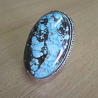 """Контрастное кольцо """"Домино"""" с натуральной бирюзой-туркизом, размер 19,5 от студии LadyStyle.Biz"""