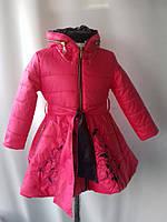 """Утепленное пальто """"Орнамент"""" цвет коралл+ темно-синий для девочек от 4 до 7лет( 104-128р)"""