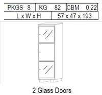 Витрина 1-дверная: 3 дв, 1 дерево + 2 стекло