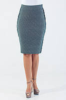 Женская юбка-карандаш трикотажная с геометрическим узором чёрного цвета