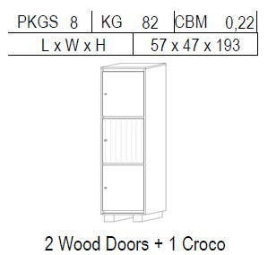 Витрина 1-дверная: 2 дв дерево + 1 CROCO