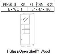 Витрина 1-дверная: 1 дв дерево + открытая полка + 1 стекло