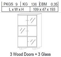Витрина 2-дверная: 3 дерево + 3 стекло