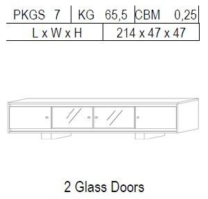 Тумба TV 4-дверная: 2 дерево + 2 стекло