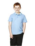 Школьные рубашки-поло голубые короткий рукав для мальчика 5-6, 6-7, 7-8, 8-9, 9-10 лет George (Англия)