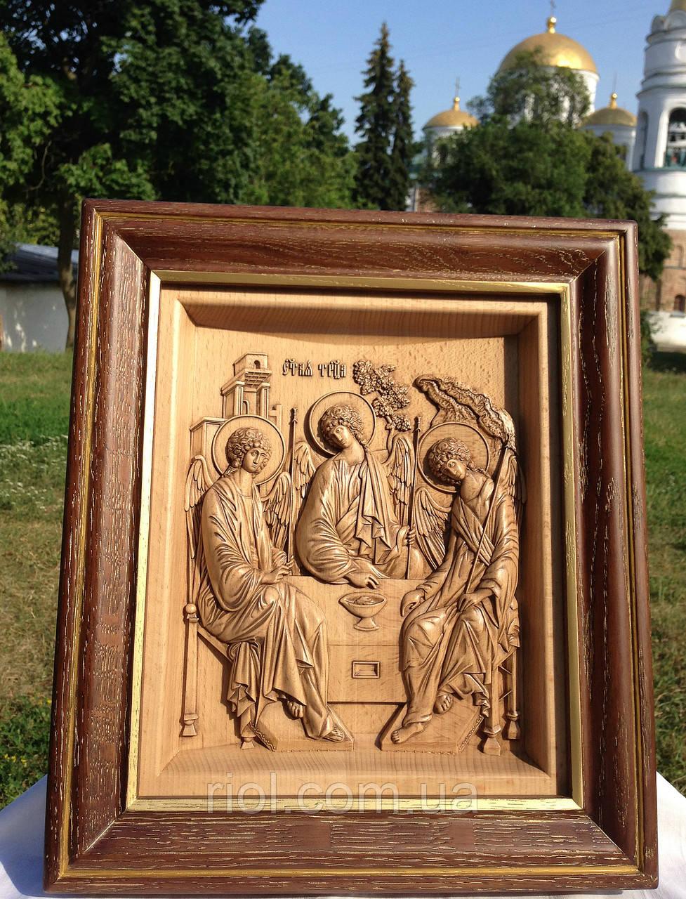 Резная деревянная икона Святая Троица