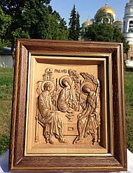 Різьблена дерев'яна ікона Свята Трійця