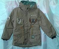 Куртка детская парка для мальчика 6-9 лет,коричневая