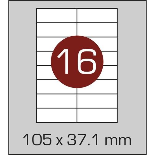 Этикетки самоклеящиеся А4 (105х37,1 мм) - 16 шт. на листе А4, 100 листов в картонной упаковке
