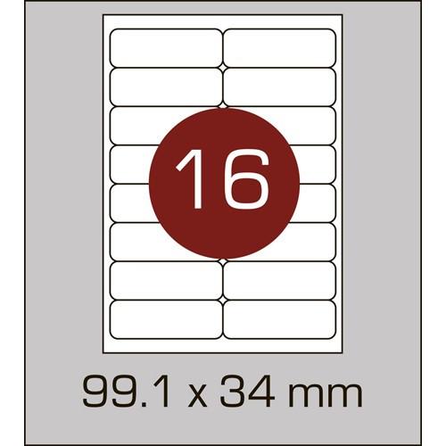 Этикетки самоклеящиеся (99,1х34 мм) с закругленными углами-16 шт. на листе А4, 100 листов в картонной упаковк