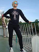 Спортивный костюм женский без молнии трикотаж черный стразы брюки манжет СКИДКА