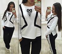 Женский черно белый спортивный костюм трикотаж петля полированный Турция размеры С М Л