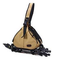 Треугольная sling сумка-рюкзак Caden для фотокамер и аксуссуаров,цвет хаки с чехлом-дождевиком