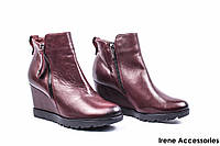 Ботинки женские кожаные Kordel (сникерсы на танкетке, байка)