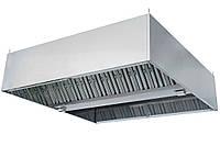 Зонт островной 2400х2000х400 вентиляционный из нержавеющей стали с жироулавливающими фильтрами