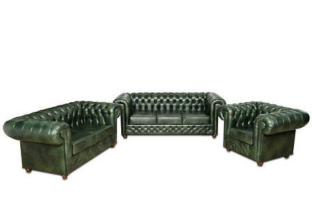 Современный кожаный комплект мебели Chesterfield Hup (3+1), фото 2