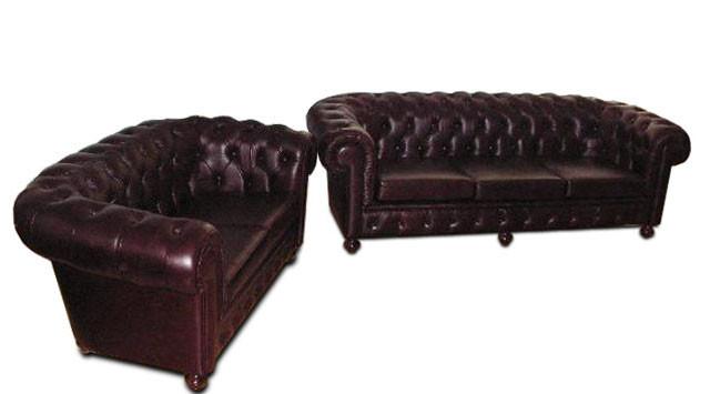 Современный кожаный комплект мебели Chesterfield Hup (3+1)