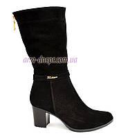 Классические женские зимние ботинки на каблуке, натуральный замш, фото 1