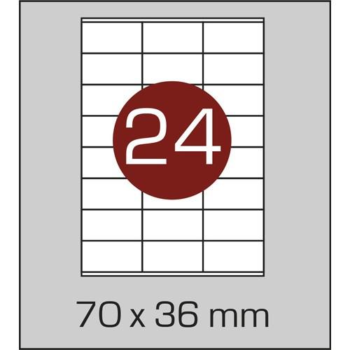 Этикетки самоклеящиеся (70х36 мм) - 24 шт. на листе А4, 100 листов в картонной упаковке